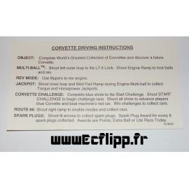 Carte instruction Corvette
