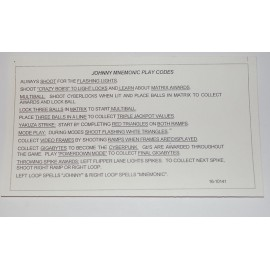 Carte instruction Johnny Mnemonic