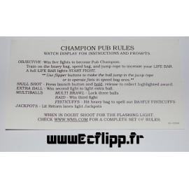 Carte instruction Corvette Champion Pub